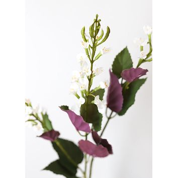"""Artificial Flowers Japanese Sage Branch in White - 26"""" Tall"""