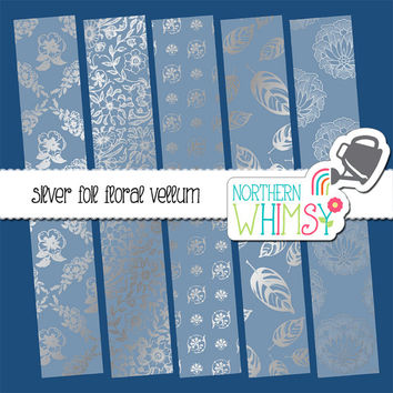 Silver Foil Floral Vellum Digital Paper Pack – vellum papers for wedding and shower invitations & scrapbooking – instant download – CU OK