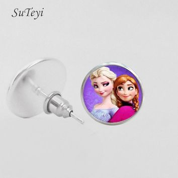 SUTEYI Vintage Elsa Anna Cute Girls Art Earrings Glass Dome Earring Jewelry Handmade Stud Earrings Children Christmas Gift