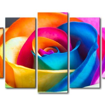 Beautiful Colorful Flower Five Piece Canvas