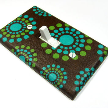 Green and Blue Retro Dots on Brown Light Switch Cover Teal Turquoise Emerald Green Bright Chartreuse