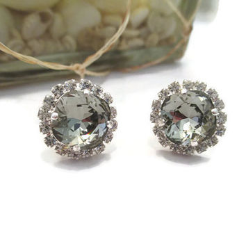 SWAROVSKI CRYSTAL EARRINGS 12mm cushion cut black diamond crystal stone, bridal, formal, stunning designer inspired, halo crystal