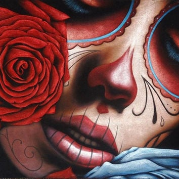 Mexican catrina skull girl black velvet oil painting handpainted signed art No.2