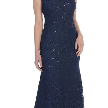 Navy Blue Short Sleeve Fit and Flare Lace Formal Dress with Sequins Long