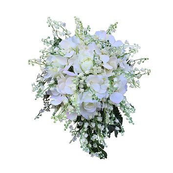Cascade Bridal Bouquet-Nice roses,hydrangea,and lily of the valley