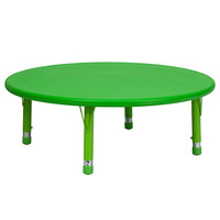 45'' Round Height Adjustable Round Green Plastic Activity Table