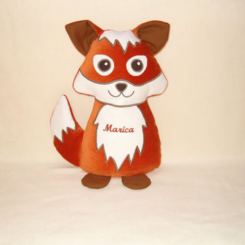 Stuffed fox toy, red animal, woodland pillow toy for children, personalized cuddly doll, outdoor actvity, trip, go outside