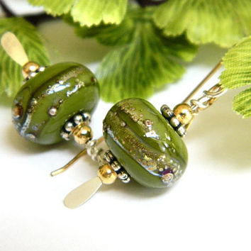 Short Green Dangle Earrings Handcrafted Gold and Silver Lampwork Beads