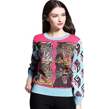 Women's Embroidery Jacard Tiger Pullover Knitted Sweater