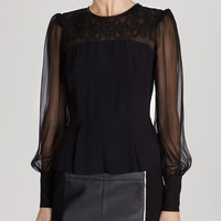 KAREN MILLEN Top - Graphic Lace Embroidered