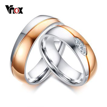 Vnox Wedding Rings Band for Women Men Rose Gold-color CZ Stones Alliance Promise Band Anniversary Ring Bijoux