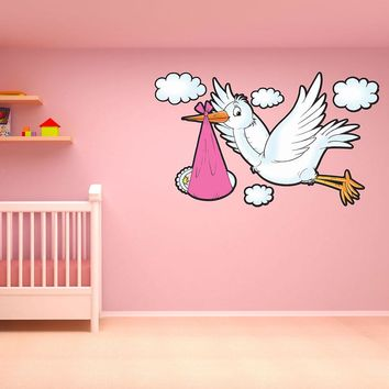 Girl Delivery Stork Wall Decal