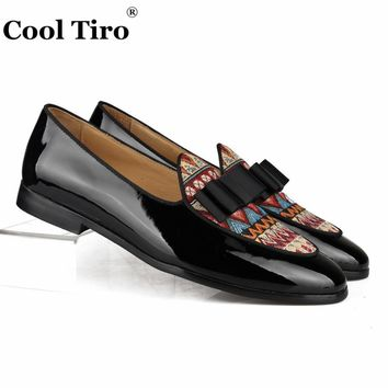 Cool Tiro Black Patent Leather Loafers Men Moccasins Bow Tie Slippers