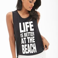 FOREVER 21 Beach Life Muscle Tee Black/White