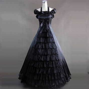 Medieval Gothic Victorian Party Dress Costume Customized Black / White Layered Stage Ball Gowns