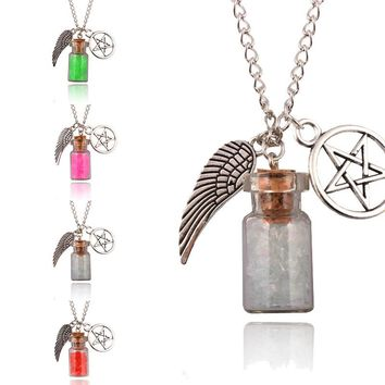 Hot Women Retro Handmade Angel Wing Pentagram Glass Wishing Bottle Pendant Supernatural Protection Chain Necklace