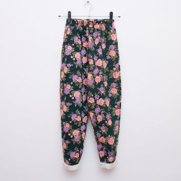 NOS Vintage floral 90's leggings pants trousers size S