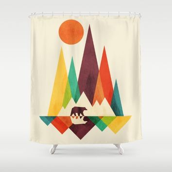 Bear In Whimsical Wild Shower Curtain by Picomodi