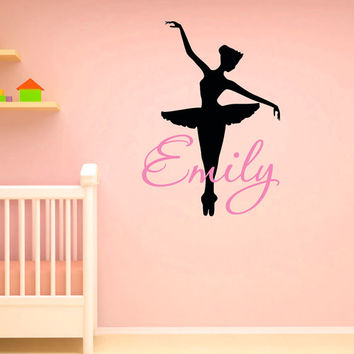 Wall Decals Vinyl Sticker Girls Name Ballerina Personalized Custom Decals Ballet Dance Studio Art Home Decor Girls Bedroom Nursery Dorm M020