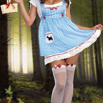 Short Sleeve Plaid Empire A-Line Mini Dress Costumes Set