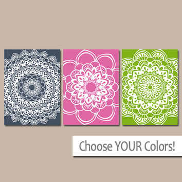 MANDALA Wall Art, Canvas or Prints Bathroom Artwork, Bedroom Pictures, Flower Wall Art, Pictures, Tribal Medallion, Set of 3 Home Decor