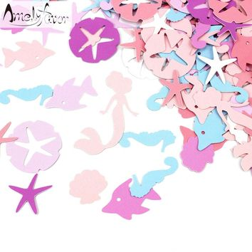 Mermaid Sea Life Ocean Confetti Mermaid Party Decoration Starfish Seahorse Under the Sea 100 CT