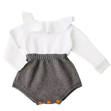 Pudcoco Newborn Baby Girl Wool Knitting Tops Patchwork Bodysuit Long Sleeves Warm Outfits Clothes 0-24M