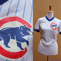 Vtg Cubs T Shirt Chicago Blue White Striped V-neck Majestic Small Medium