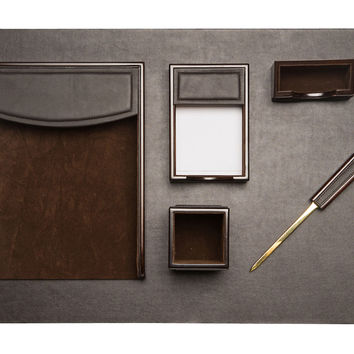 Desk Lacquer & Leather  Set, Brown, Office Storage