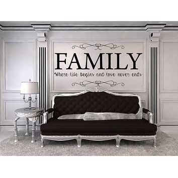 Family Where Life Begins And Love Never Ends Vinyl Wall Decal