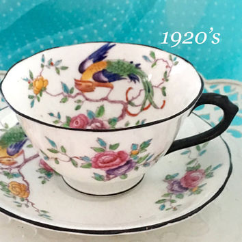 Antique 1920's Chelson Tea Cup and Saucer, Bird Tea Cup, England, Hand Painted