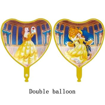 10pcs/lot Peach Heart Beauty and the Beast foil balloons Double balloon globos birthday wedding party decorations party supplies