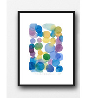 Original watercolor painting - dots painting - abstract painting -abstract watercolor purple blue dots