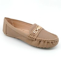 Women's Tan Loafer with Charm Detail