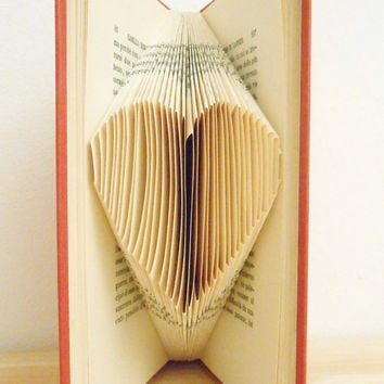 Folded Book Art - Heart Unique Gift Love Origami Book Sculpture