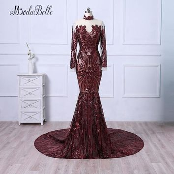 modabelle 2018 Elegant Burgundy Evening Gown Sequined High Neck Luxury Arabic Mermaid Long Sleeve Evening Dresses For Prom