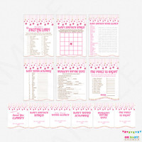 Pink and Gold Baby Shower Games Bundle, games package, baby shower signs, printable games INSTANT DOWNLOAD girl baby shower games SGS0002-pg