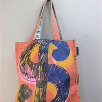 Andy Warhol Money Sign Canvas Tote Bag - Red