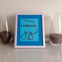 Today I choose Joy - art piece INCLUDING white frame - Wall Art handmade written - original by misssfaith