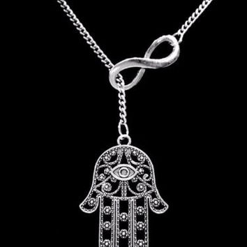Infinity Hamsa Hand Eye Of God Fatima Jewish Y Gift Lariat Style Necklace