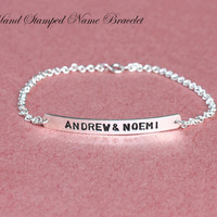 Hand Stamped Name Bracelet -  Personalize Gift - Name Engraving