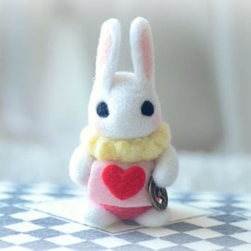 Handmade Alice in Wonderland white rabbit doll, needle felt bunny doll, kids toy, gift under 25