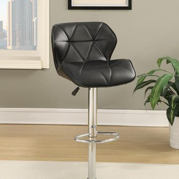Barstool with Gaslight In Tufted Leather Black Set of 2 By Poundex