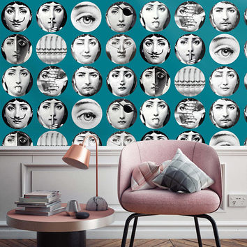 Faces CUSTOM  Wallpaper - Fornasetti Wallpapers - Wallpaper Dishes