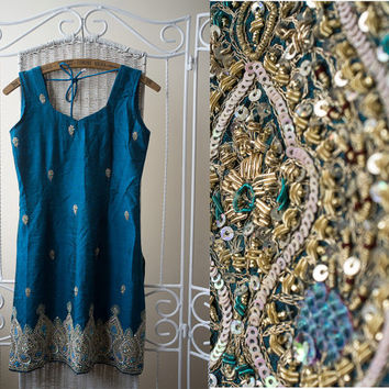 Vintage 70s Stunning India, Bollywood turquoise beaded dress.  20% Off