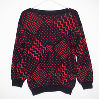 1980s Black and Red Abstract Pattern Funky Ugly Sweater M