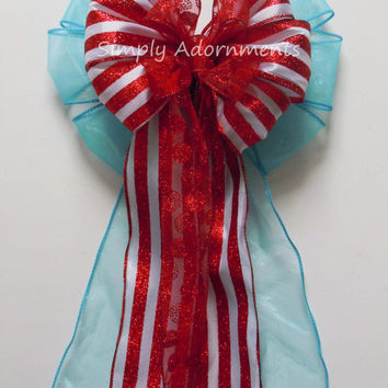 Dr Seuss Birthday Decoration Turquoise Red Bow Wedding Pew Bow Wreath Bow Gift wrap Bow