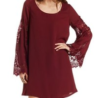 Burgundy Lace Bell Sleeve Shift Dress by Charlotte Russe