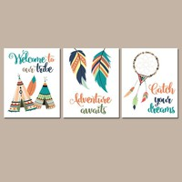 TRIBAL Nursery Wall Art, TRIBAL Canvas or Prints, Woodland Pictures, Aztec Tribal Feathers, Tee Pee Tribe, Dream Catcher, Adventure Set of 3