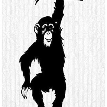 Chimpanzee Chimp Safari Zoo Man Cave Animal Rustic Cabin Lodge Mountains Hunting Vinyl Wall Art Sticker Decal Graphic Home Decor